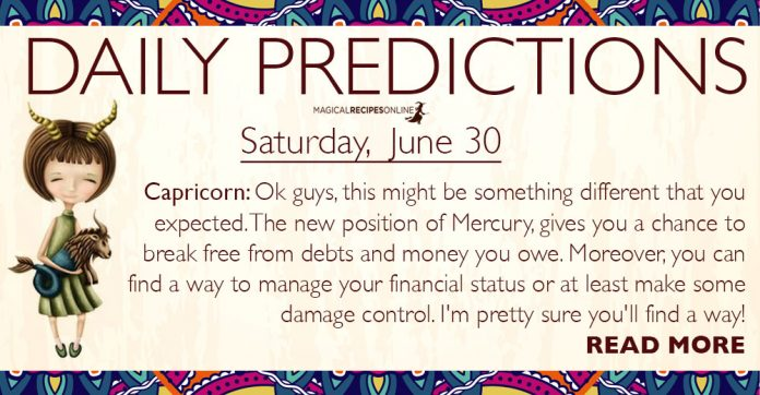 Daily Predictions for Saturday, 30 June 2018