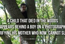 A child that died in the woods appears behind a boy on a photograph!