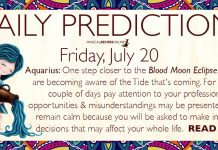 Daily Predictions for Friday, July 20, 2018