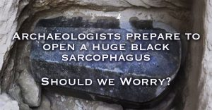 Archaeologists in Egypt prepare to open a huge black Sarcophagus