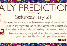 Daily Predictions for Saturday, July 21, 2018