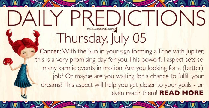 Daily Predictions for Thursday, 05 July 2018