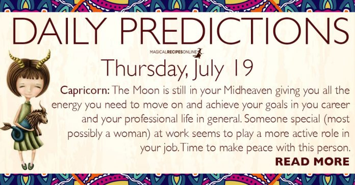 Daily Predictions for Thursday, July 19, 2018