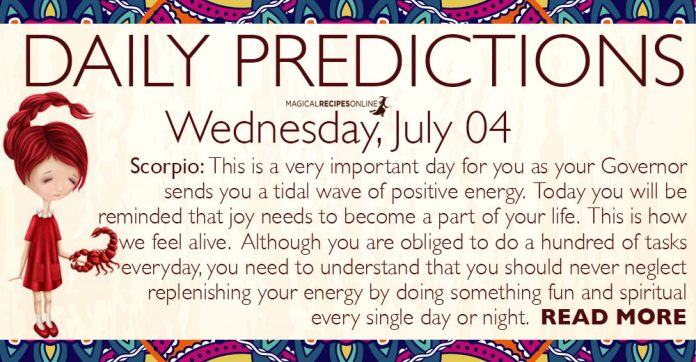 Daily Predictions for Wednesday, 04 July 2018