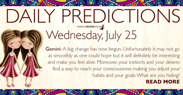 Daily Predictions for Wednesday, July 25, 2018