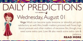 Daily Predictions for Wednesday, 01 August 2018