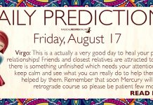 Daily Predictions for Friday, 17 August 2018