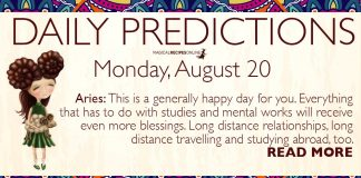 Daily Predictions for Monday, 20 August 2018