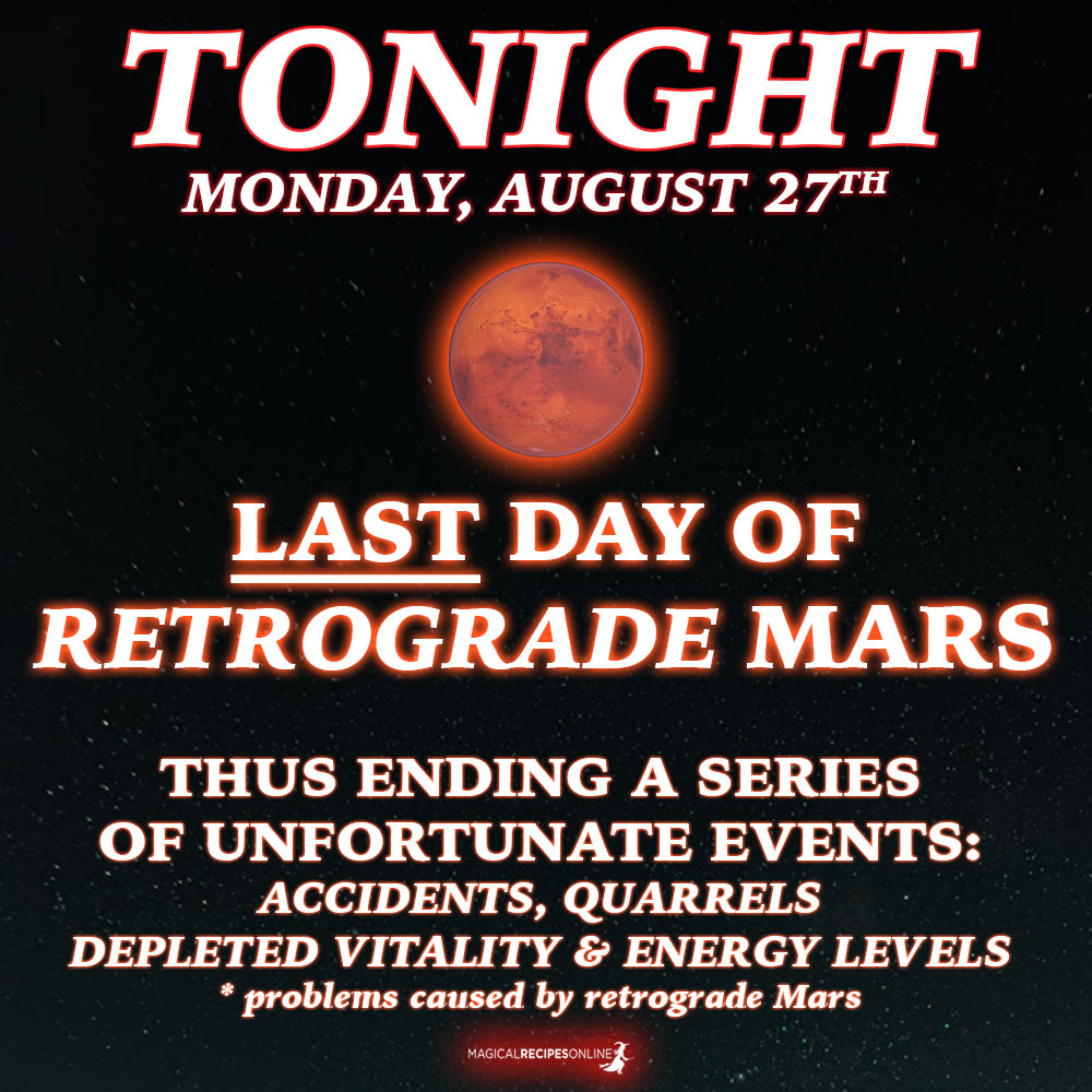 Also, today Mars turns back into direct motion.