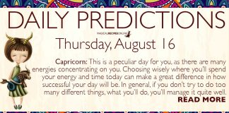 Daily Predictions for Thursday, 16 August 2018