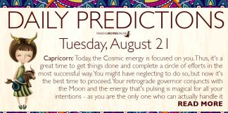 Daily Predictions for Tuesday, 21 August 2018