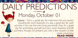 Daily Predictions for Monday, 01 October 2018