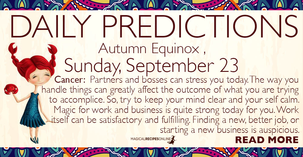 Daily Predictions for Sunday, Autumn Equinox, September 23 2018