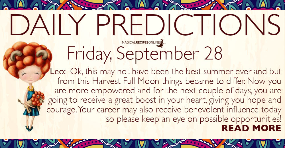 Daily Predictions for Friday, September 28, 2018