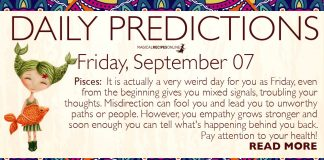 Daily Predictions for Friday, 07 September 2018