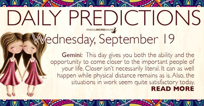 Daily Predictions for Wednesday, 19 September 2018