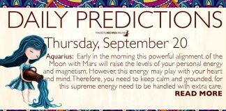 Daily Predictions for Thursday, 20 September 2018
