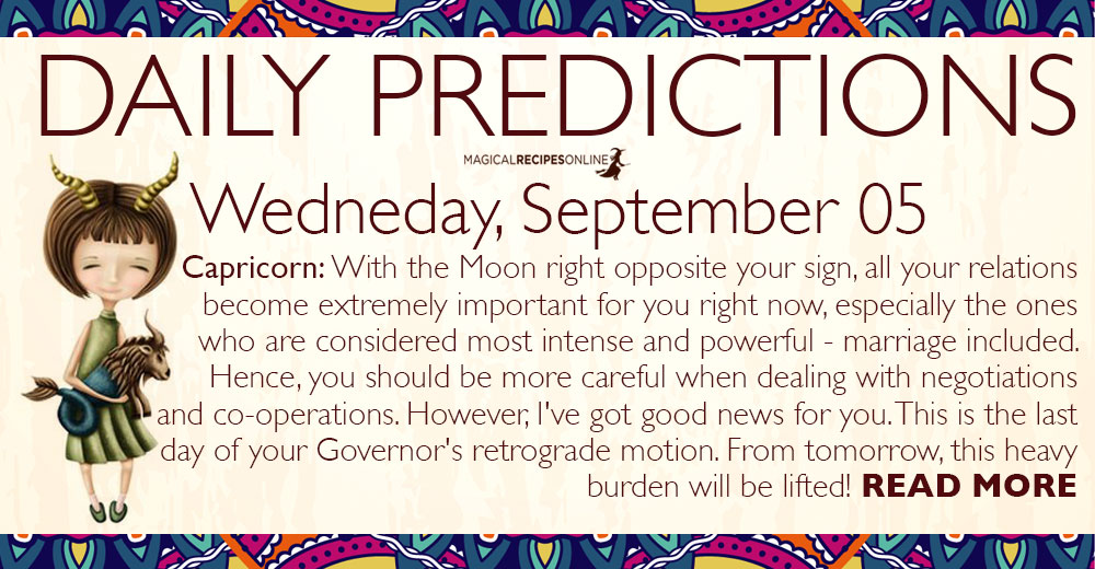 Daily Predictions for Wednesday, 05 September 2018