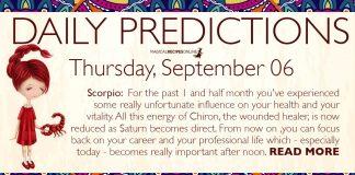 Daily Predictions for Thursday, 06 September 2018