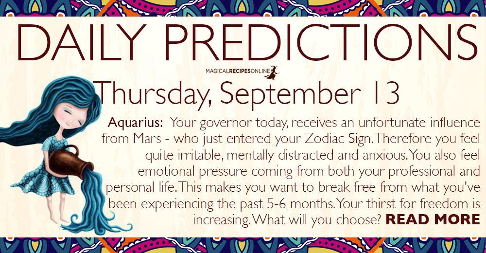 Daily Predictions for Thursday, 13 September 2018