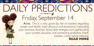 Daily Predictions for Friday, 14 September 2018