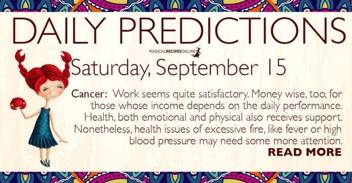 Daily Predictions for Saturday, 15 September 2018