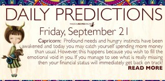 Daily Predictions for Friday, 21 September 2018