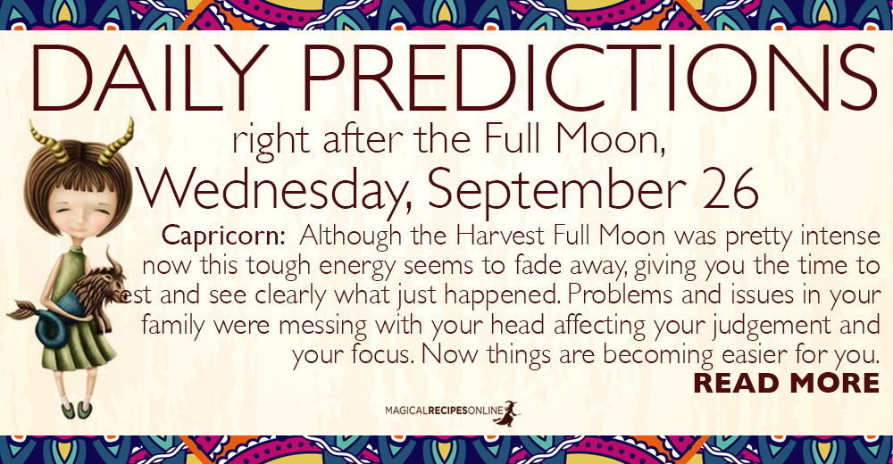Daily Predictions for Wednesday, September 26, 2018