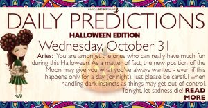Daily Predictions for Samhain ?, October 31, 2018
