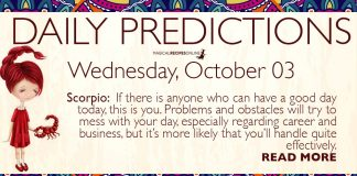 Daily Predictions for Wednesday, 03 October 2018