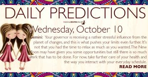 Daily Predictions for Wednesday, 10 October 2018