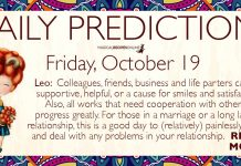 Daily Predictions for Friday, 19 October 2018