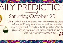 Daily Predictions for Saturday, 20 October 2018