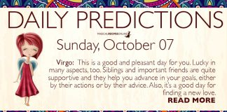 Daily Predictions for Sunday, 07 October 2018