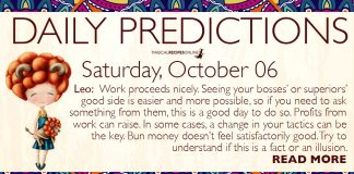 Daily Predictions for Saturday, 06 October 2018