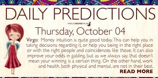 Daily Predictions for Thursday, 04 October 2018
