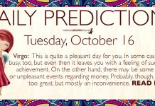 Daily Predictions for Tuesday, 16 October 2018