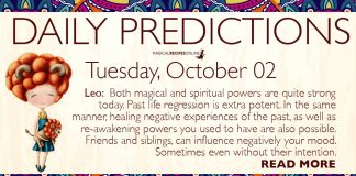 Daily Predictions for Tuesday, 02 October 2018