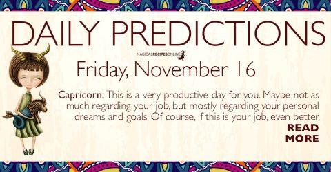 Daily Predictions for Friday 16 November 2018