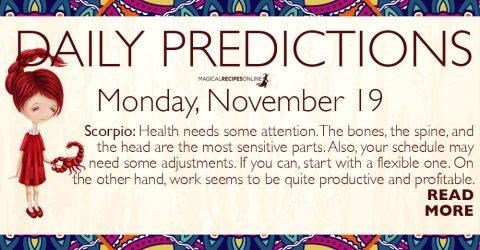 Daily Predictions for Monday 19 November 2018