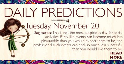 Daily Predictions for Tuesday 20 November 2018