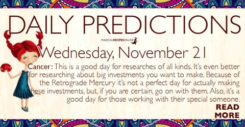 Daily Predictions for Wednesday 21 November 2018