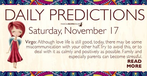 Daily Predictions for Saturday 17 November 2018