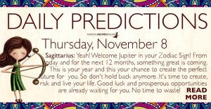 Daily Predictions for Thursday, November 8, 2018