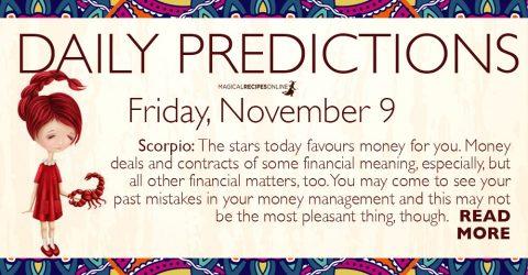 Daily Predictions for Friday 9 November 2018