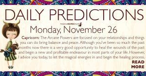 Daily Predictions for Monday 26 November 2018