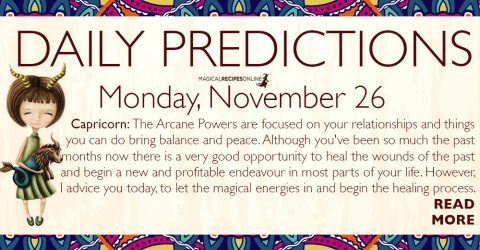 Daily Predictions for Monday 26 November 2018