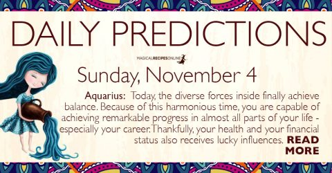Daily Predictions for Sunday, November 4, 2018