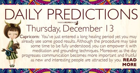 Daily Predictions for Thursday, December 13, 2018
