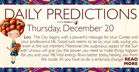 Daily Predictions for Thursday, December 20, 2018